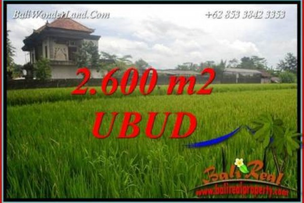 FOR sale Beautiful 2,600 m2 Land in Ubud Bali TJUB701